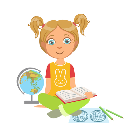 Girl Reading A Geography Book, Part Of Kids Loving To Read Vector Illustrations Series