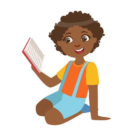 bookworm: Boy Sitting On The Floor Reading A Book, Part Of Kids Loving To Read Vector Illustrations Series