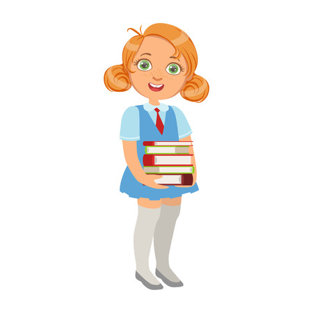 bookworm: Girl In School Uniform Holding Pile Of Books , Part Of Kids Loving To Read Vector Illustrations Series
