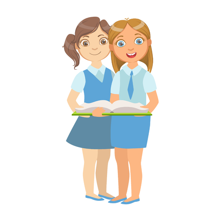 bookworm: Two Girls In School Uniform Standing Reading A Book Together, Part Of Kids Loving To Read Vector Illustrations Series