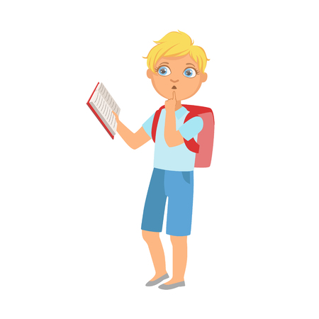 bookworm: Schoolboy With Backpack Standing Reading A Book, Part Of Kids Loving To Read