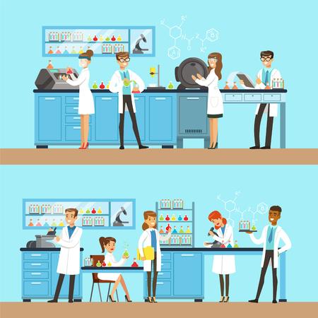 化学薬品に化学研究所実験と実行している化学試験を行う  イラスト・ベクター素材