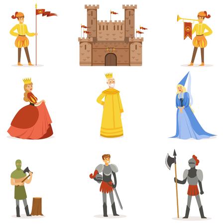 Personnages de dessin animé médiévaux et Moyen Age européen Attributs de période historique Ensemble d'icônes Banque d'images - 74887683