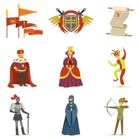 중세 만화 캐릭터 및 유럽 중세 역사적 시대 특성 아이콘 모음 일러스트