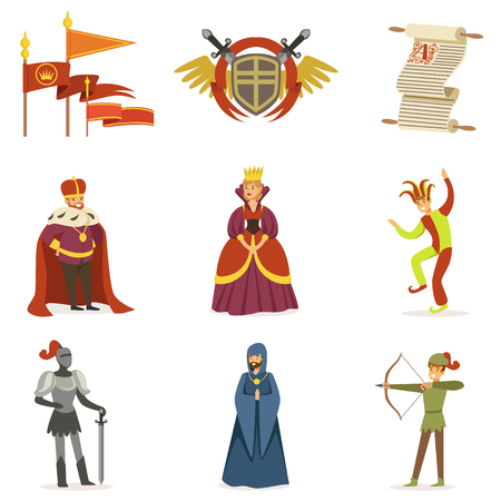Medieval Cartoon Characters And European Middle Ages Historic Period Attributes Collection Of Icons 向量圖像