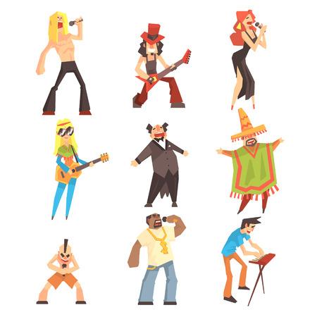 Musiker und Sänger von verschiedenen Musikstilen auf Bühne im Konzert Set von Comic-Figuren Standard-Bild - 76230536