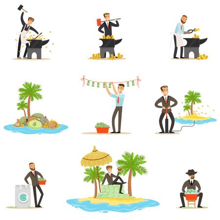 Lavado de Dinero ilegal y uso de la serie de ilustraciones con Offshores corrupto hombre de negocios de lavado de dinero sucio