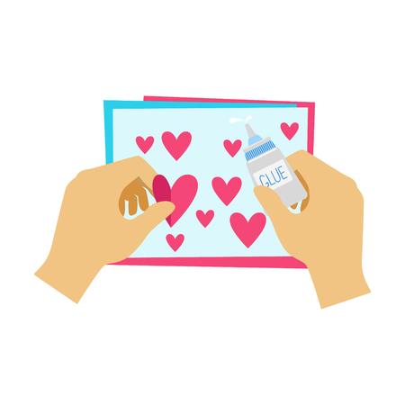 Two Hands Gluing Hearts To Paper Postcard, Elementary School Art Class Vector Illustration Иллюстрация