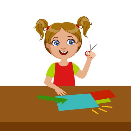 Girl Cutting Grass Shape For Applique, Elementary School Art Class Vector Illustration