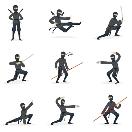 Japanese Ninja Assassin In Full Black Costume Performing Ninjitsu Martial Arts Postures With Different Weapons Series Of Illustrations.