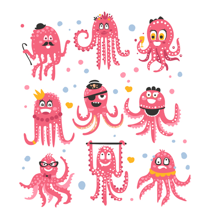 Octopus Emoticon Icons With Funny Cute Cartoon Marine Animal Characters In Different Disguises At The Party