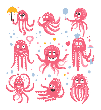 Octopus Emoticon Icons With Funny Cute Cartoon Marine Animal Characters In Love And Expressing Different Emotions