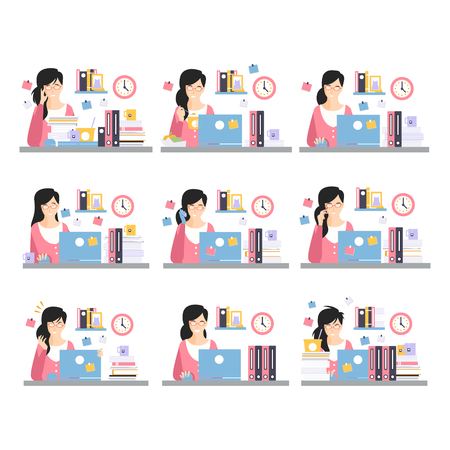 Female Office Worker Daily Work Scenes With Different Emotions, Set Of Illustrations Of Busy Day At The Office Illustration