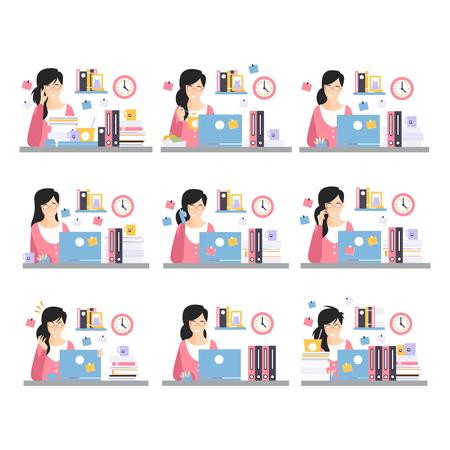 Travailleur de bureau féminin Scènes de travail quotidiennes avec différentes émotions, ensemble d'illustrations de jour occupé au bureau Vecteurs