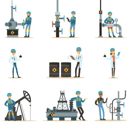 石油業界で働く幸せな人のパイプラインと石油の抽出機械で働いて漫画文字のセット