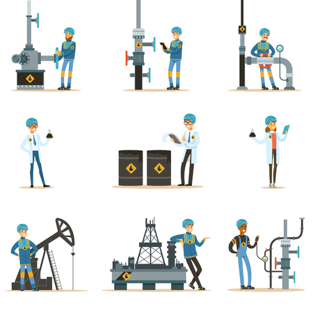 borehole: Happy People Working In Oil Industry Set Of Cartoon Characters Working At The Pipeline And Petroleum Extraction Machinery