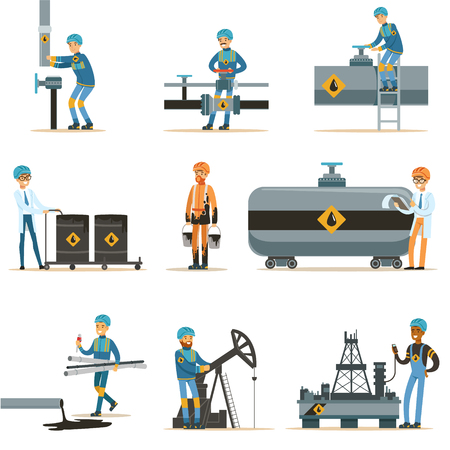 borehole: Happy People Working In Oil Industry Collection Of Cartoon Characters Working At The Pipeline And Petroleum Extraction Machinery Illustration