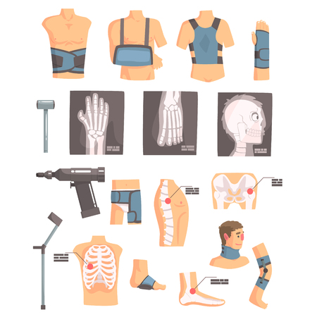 crouch: Orthopedic Surgery And Orthopaedics Attributes And Tools Set Of Cartoon Icons
