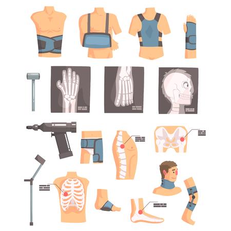 Orthopedic Surgery And Orthopaedics Attributes And Tools Set Of Cartoon Icons