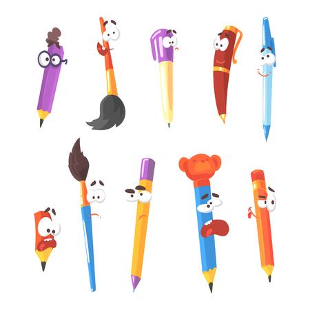 Lachende pen, potloden en borstels, reeks geanimeerde stationaire stripfiguren geïsoleerd kleurrijke Stickers