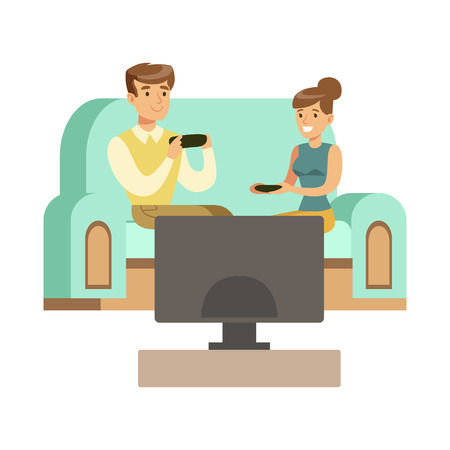 couple sitting on the sofa with joysticks part of happy gamers