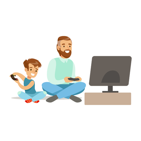 Father And Boy Sitting On The Floor With Joysticks,Part Of Happy Gamers Enjoying Playing Video Game, People Indoors Having Fun With Computer Gaming