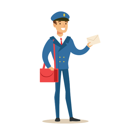 Postman In Blue Uniform Delivering Mail Holding A Letter, Fulfilling Mailman Duties With A Smile.