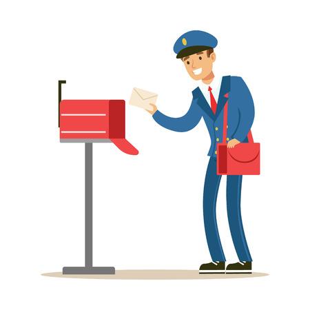 Carteiro no uniforme azul que entrega o correio, pondo letras na caixa postal, cumprindo deveres do carteiro com um sorriso. Foto de archivo - 74728339