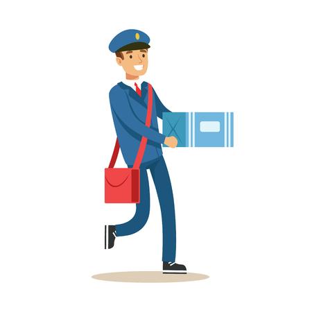 メールの配信、カートン バックス小包を運ぶ、笑顔で郵便配達職務を果たす青い制服を着て郵便屋さん。