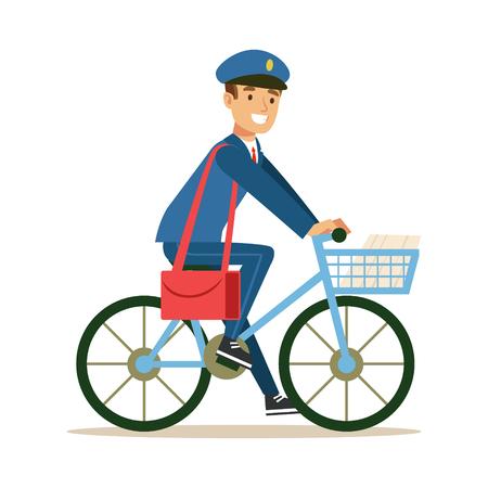 Postier en uniforme bleu sur un vélo délivrant le courrier, remplir les fonctions de Mailman avec un sourire.
