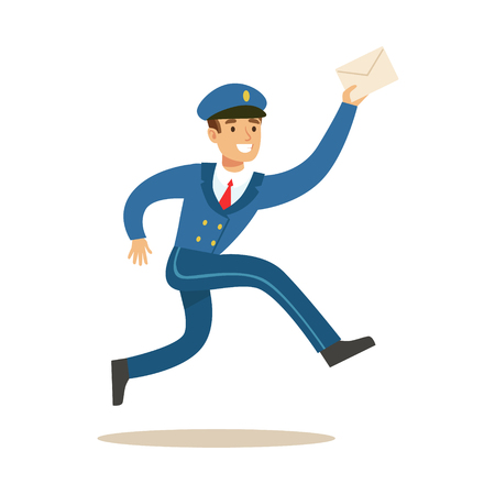 Postman In Blue Uniform Running Delivering Mail, Fulfilling Mailman Duties With A Smile.