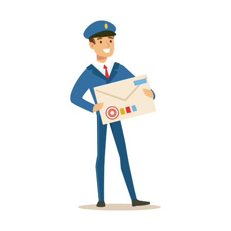 Postman In Blue Uniform Delivering Mail, Holding Giant Letter Envelop, Fulfilling Mailman Duties With A Smile Illustration