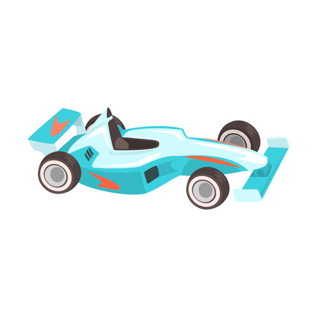 Blue Sportive Formula One Car, Racing Related Objects Part Of Racer Attribute Illustration Set.