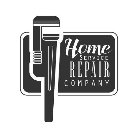 Home Repair and Renovation Service Black And White Sign Design Template With Text And Wrench In Square Frame.