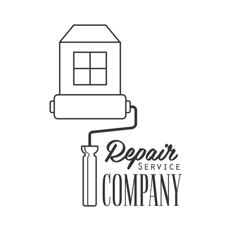 Repair and Renovation Service Black And White Sign Design Template With Text With Painting Roll And House.