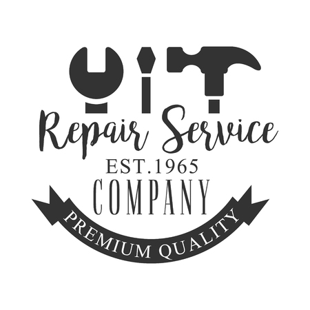 Premium Quality Repair and Renovation Service Black And White Sign Design Template With Text And Tools Silhouettes.