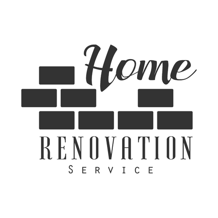 Home Repair and Renovation Service Black And White Sign Design Template With Text And Brick Wall.