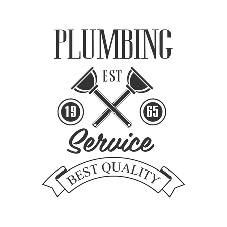 Best Quality Plumbing, Repair and Renovation Service Black And White Sign Design Template With Text And Crossed Plungers. Ilustrace