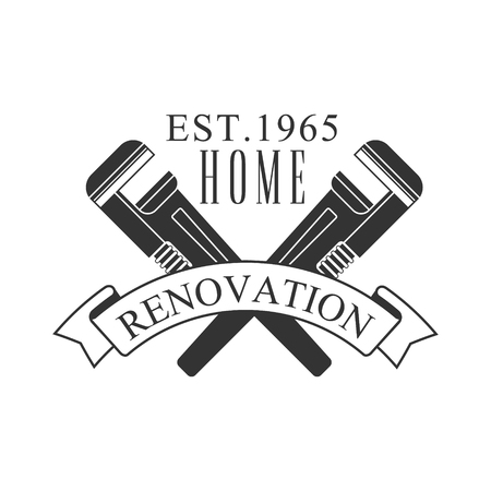 Home Repair and Renovation Service Black And White Sign Design Template With Text And Crossed Wrenches