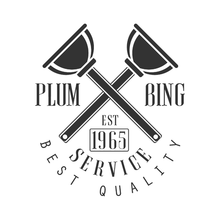 Best Plumbing, Repair and Renovation Service Black And White Sign Design Template With Text And Crossed Plungers.