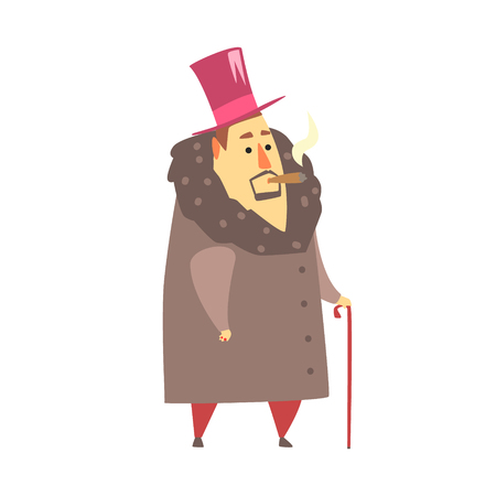 Millionaire Rich Man In Coat And Top Hat Smoking Cigar ,Funny Cartoon Character Lifestyle Situation.