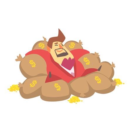 Millionaire Rich Man Laying On Money Bags Filled With Golden Coins,Funny Cartoon Character Lifestyle Situation. Ilustrace