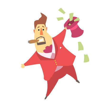Millonario hombre rico con un sombrero de copa que está lleno de billetes de dinero, personaje de dibujos animados divertido Situación de estilo de vida Foto de archivo - 74648958