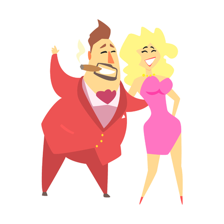 Millionaire Rich Man Walking Holding Around A Waist A Pretty Blond Sexy Woman,Funny Cartoon Character Lifestyle Situation Illustration