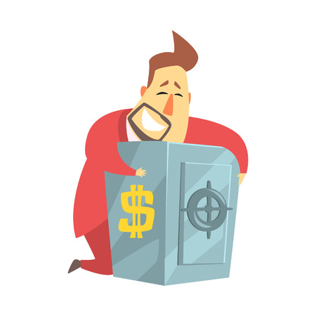 Millionaire Rich Man Hugging His Metal Safe Money Box ,Funny Cartoon Character Lifestyle Situation Ilustrace