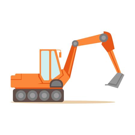 Large Orange Excavator Machine , Part Of Roadworks And Construction Site Series Of Vector Illustrations