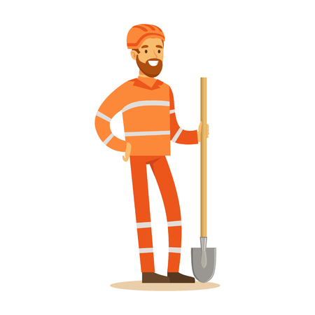 Road Worker In Orange Uniform With Shovel , Part Of Roadworks And Construction Site Series Of Vector Illustrations