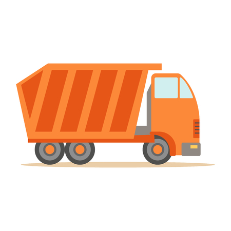 Big Heavy Orange Truck , Part Of Roadworks And Construction Site Series Of Vector Illustrations