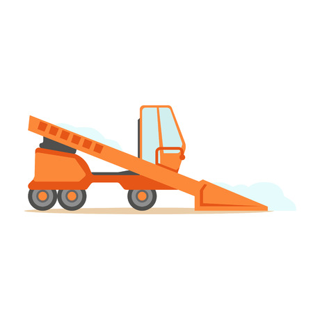 Grader Orange Machine On Six Wheels , Part Of Roadworks And Construction Site Series Of Vector Illustrations