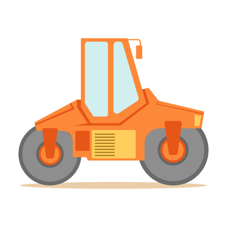 finisher: Small Orange Paver Machine , Part Of Roadworks And Construction Site Series Of Vector Illustrations